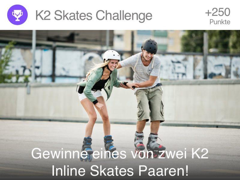 Frau und Mann skaten mit K2 Skates - Challenges bei YAS.life - Sei aktiv und Gewinne!