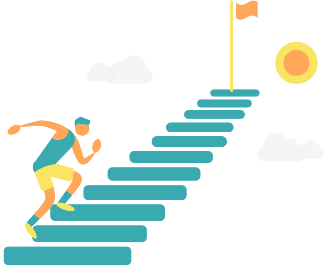 Graphic Step by step to the goal