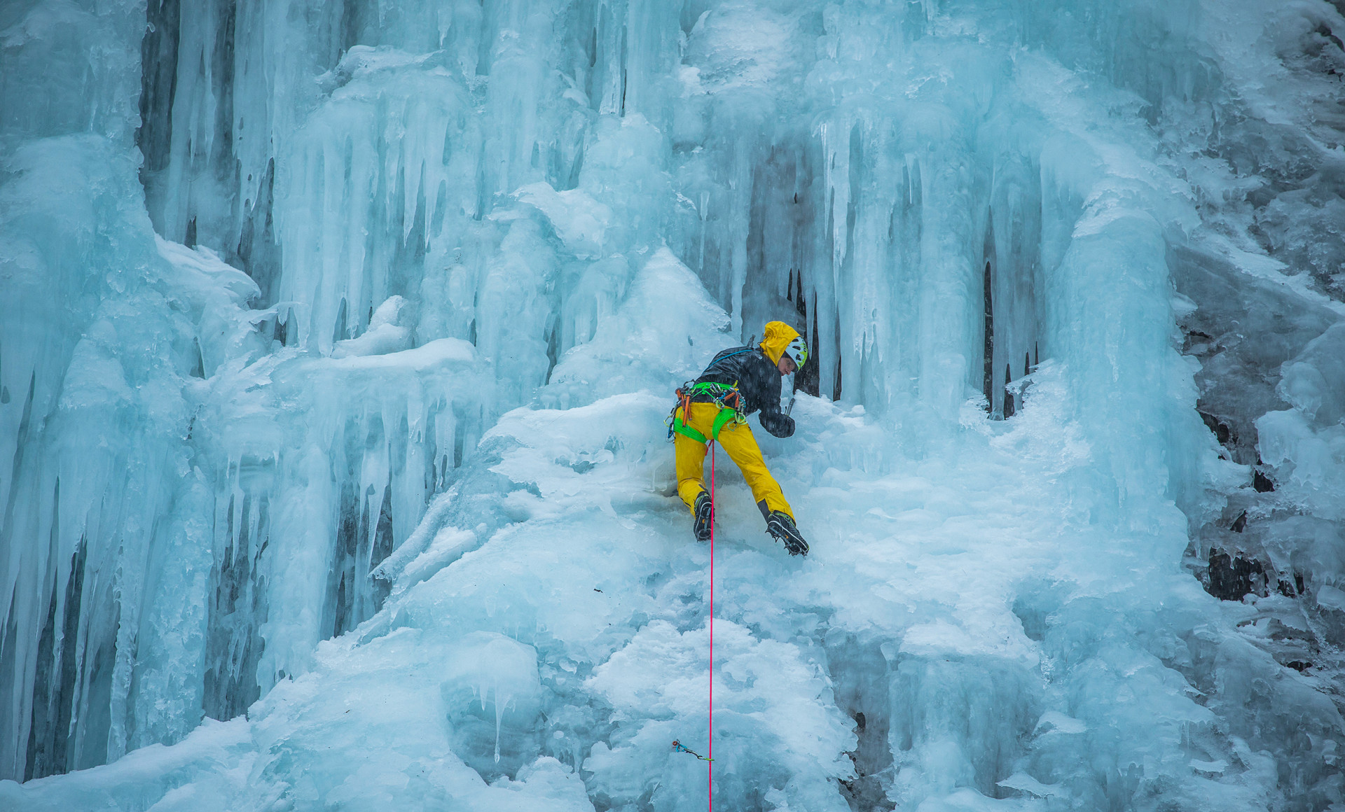 Climbers have to rely completely on their boots when they tackle such extreme walls of ice.
