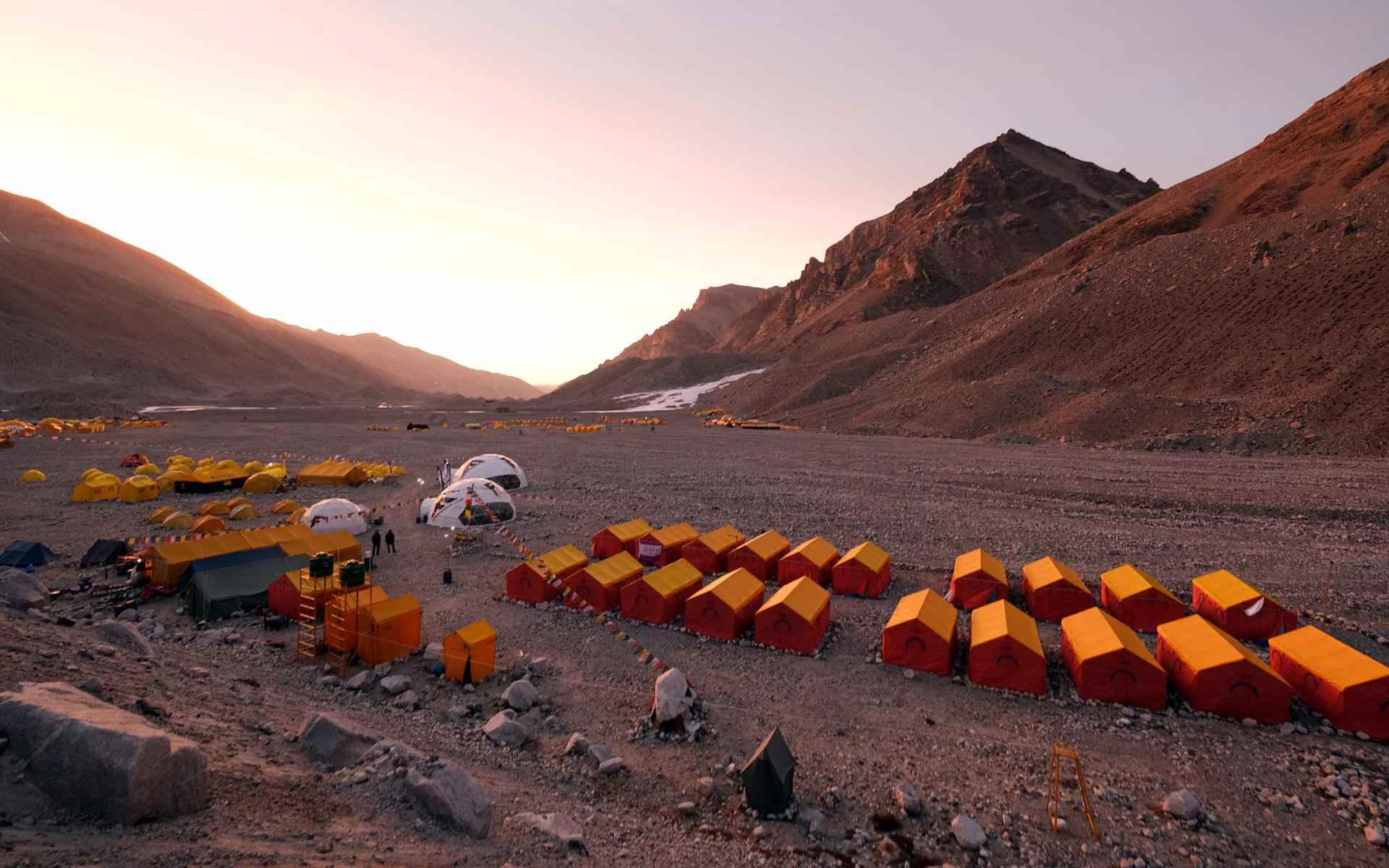 Overnachting in het basiskamp.