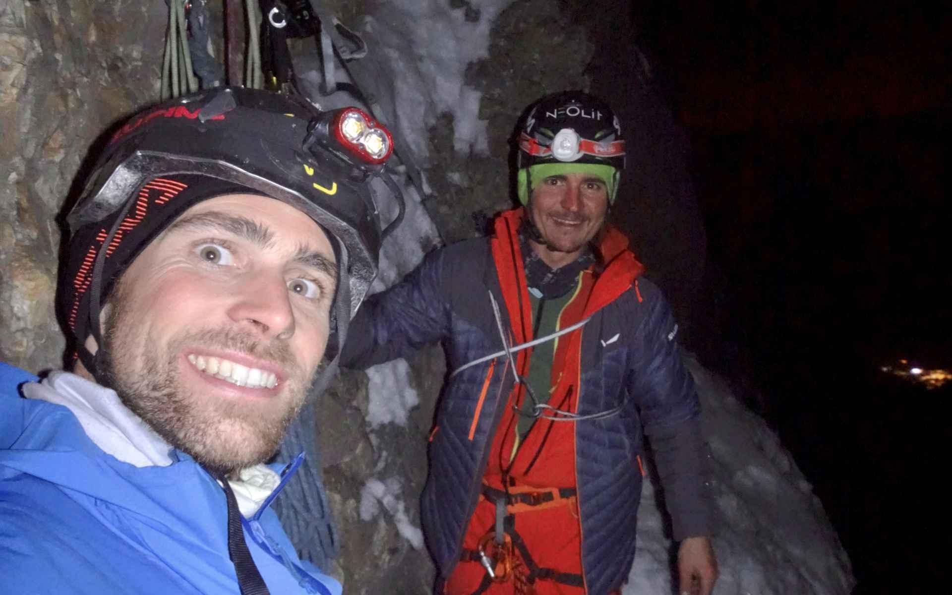 Na een paar dagen van voorbereiding klommen de twee professionele klimmers op 16 december weer de wand op.