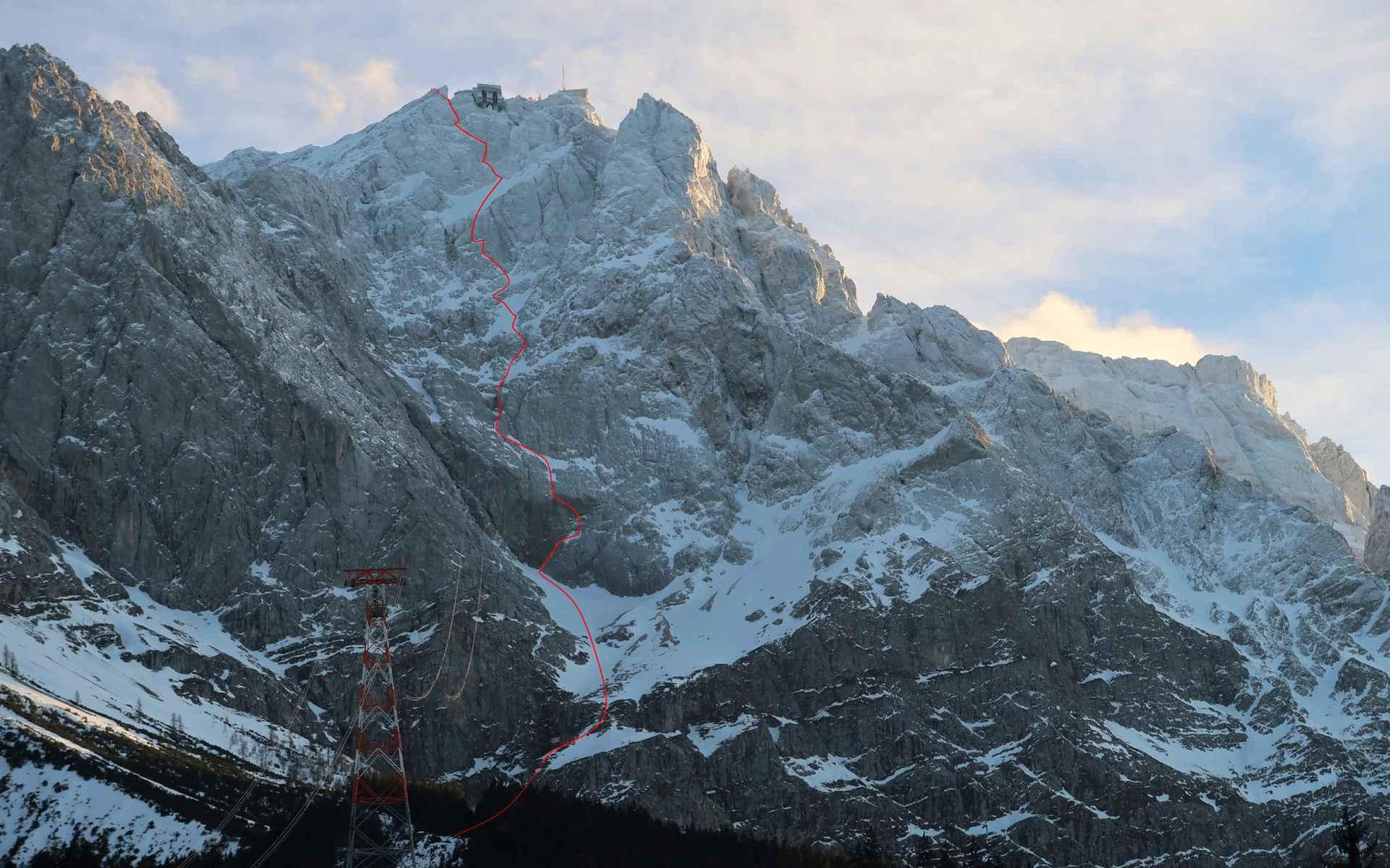 Het uitzicht op de directe noordwand van de Zugspitze.