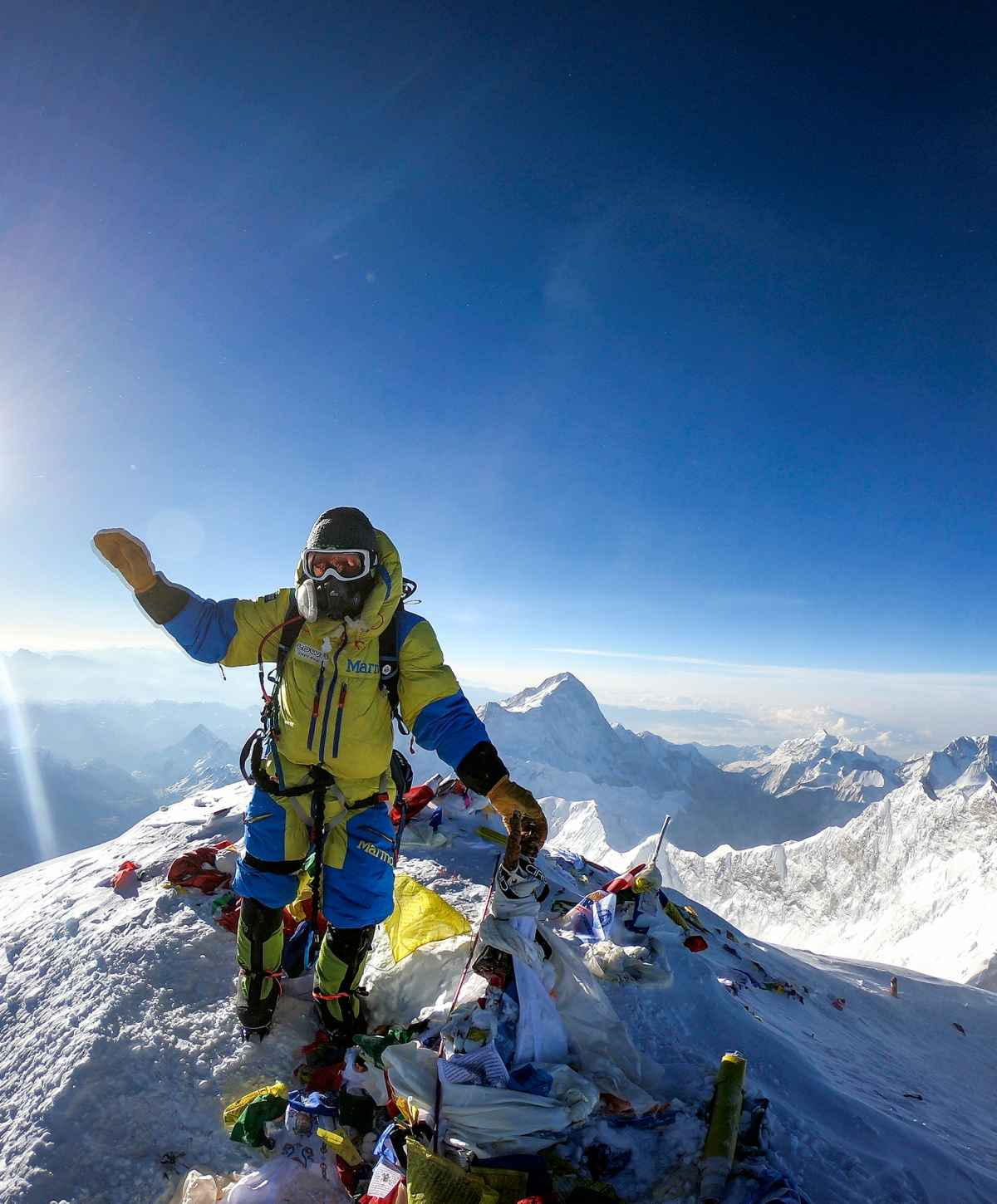 Luis Stitzinger op de top van de Mount Everest