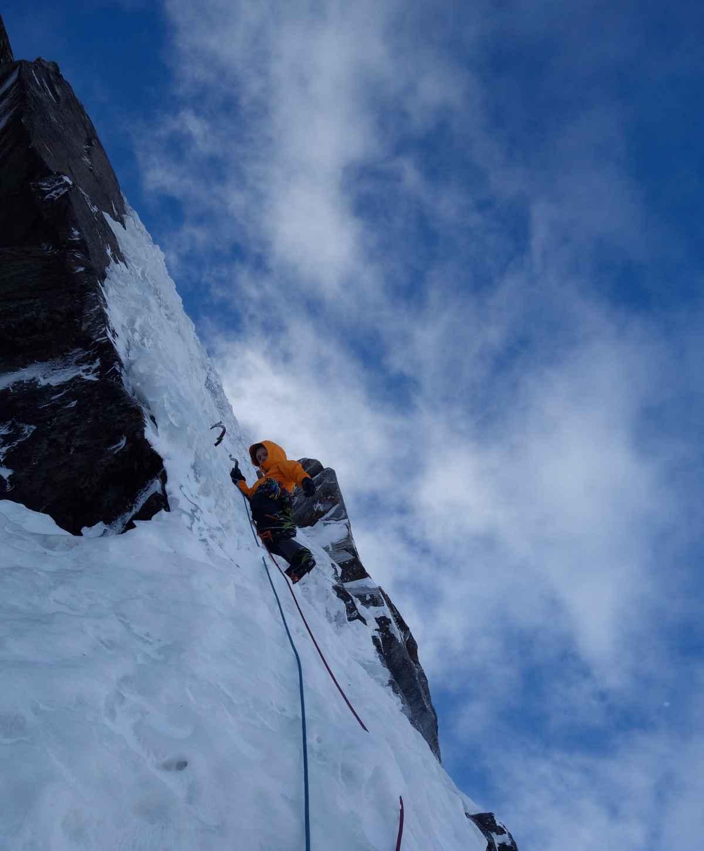 Martin Feistl en Sven Brand tijdens hun beklimming van de route aan de noordkant van de Sagwand.