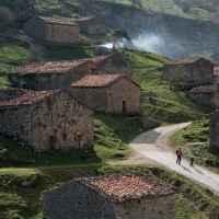 Wanderszene bei Invernales del Texu, Picos de Europa, Spanien.