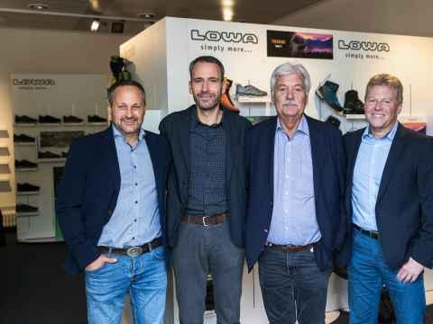 The management team of LOWA Sportschuhe GmbH (from left): Matthias Wanner, Alexander Nicolai, Werner Riethmann and Rudolf Limmer