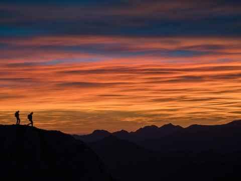 Wanderszene am Mazza di Pichea, Gardasee, Trentino, Italien.