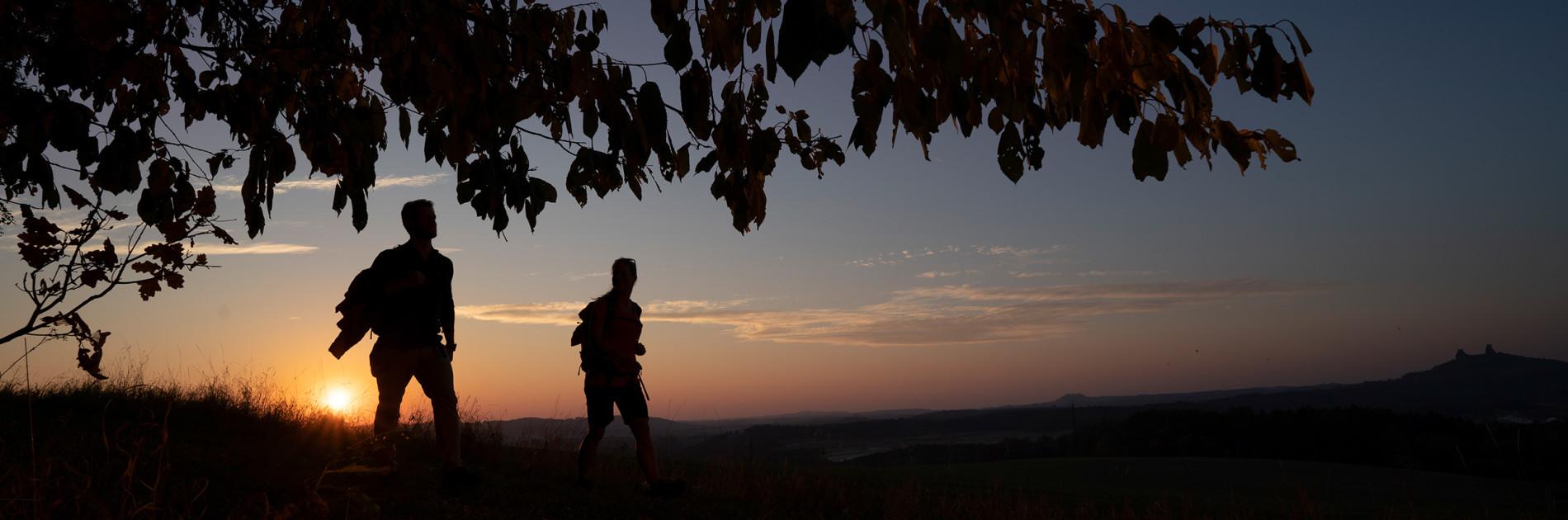 Wanderszene bei Mladejov, Tschechien.