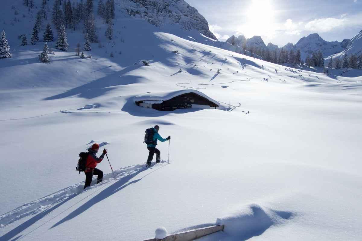 Schneeschuhtour zur Seebenalm, Mieminger Berge, Tirol, Österreich.