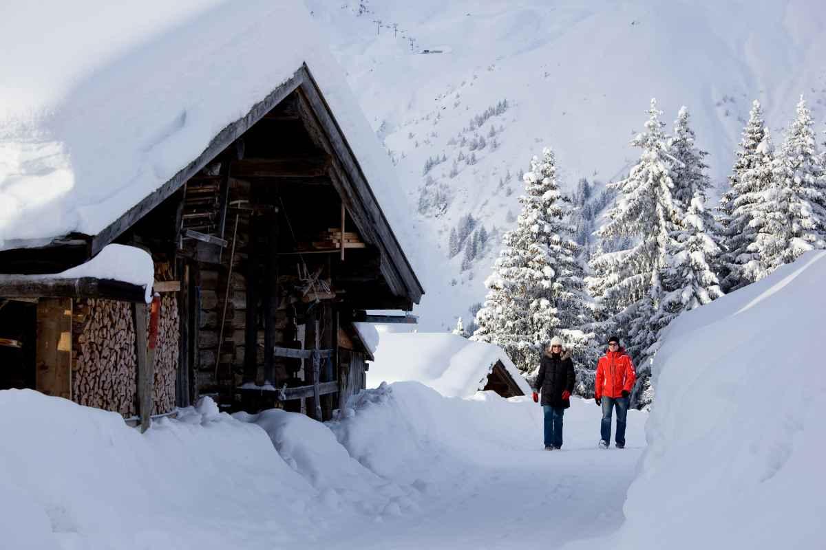 Winterwanderung bei der Brindlingalm Zillertaler Alpen, Tirol, Österreich.