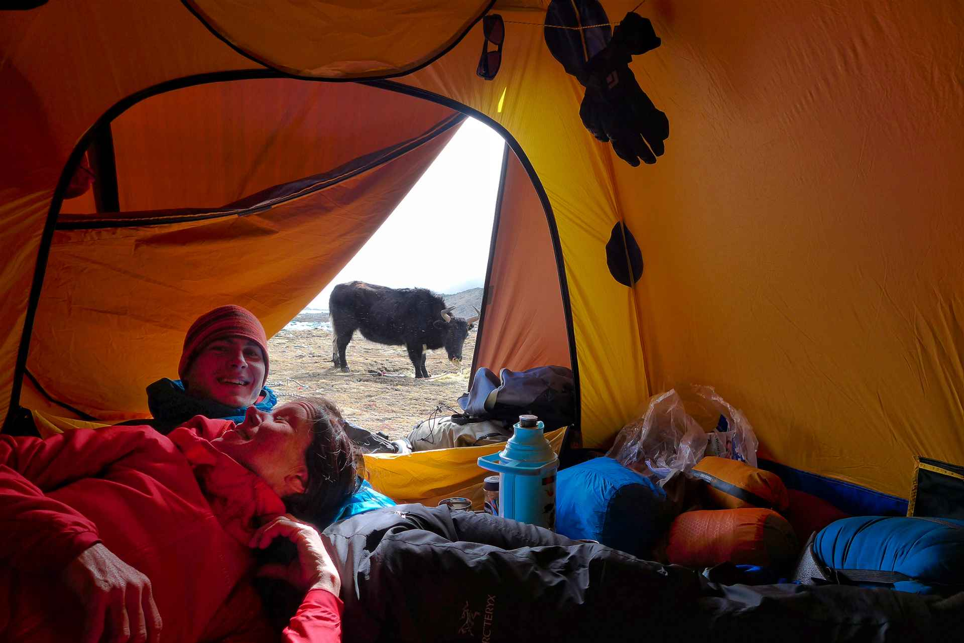 Relaxing in basecamp.