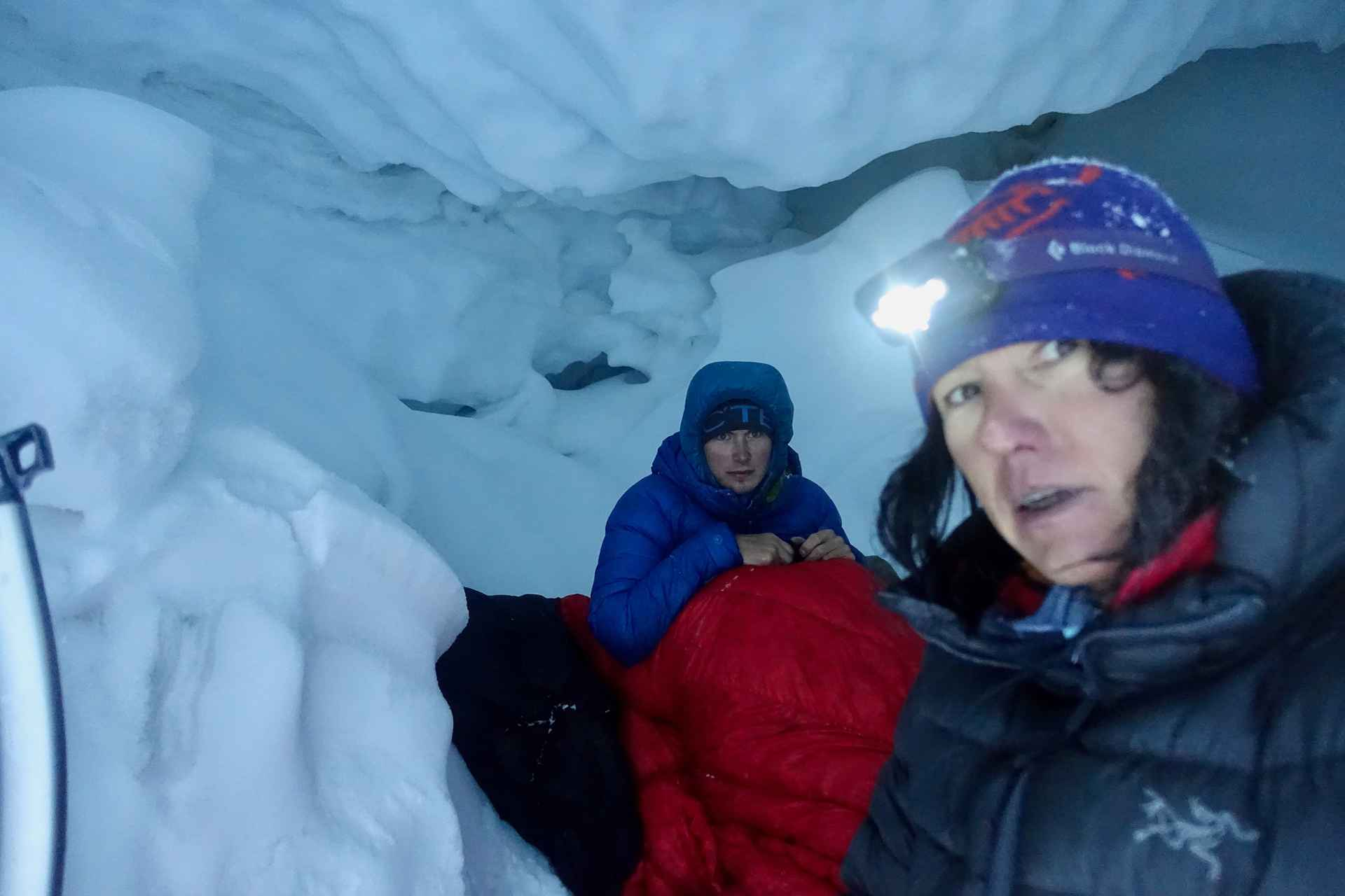 In the ice cave after the avalanche on Nyanang Ri.