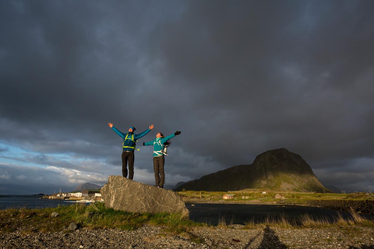 Reiseszene bei Hov, Lofoten, Norwegen.