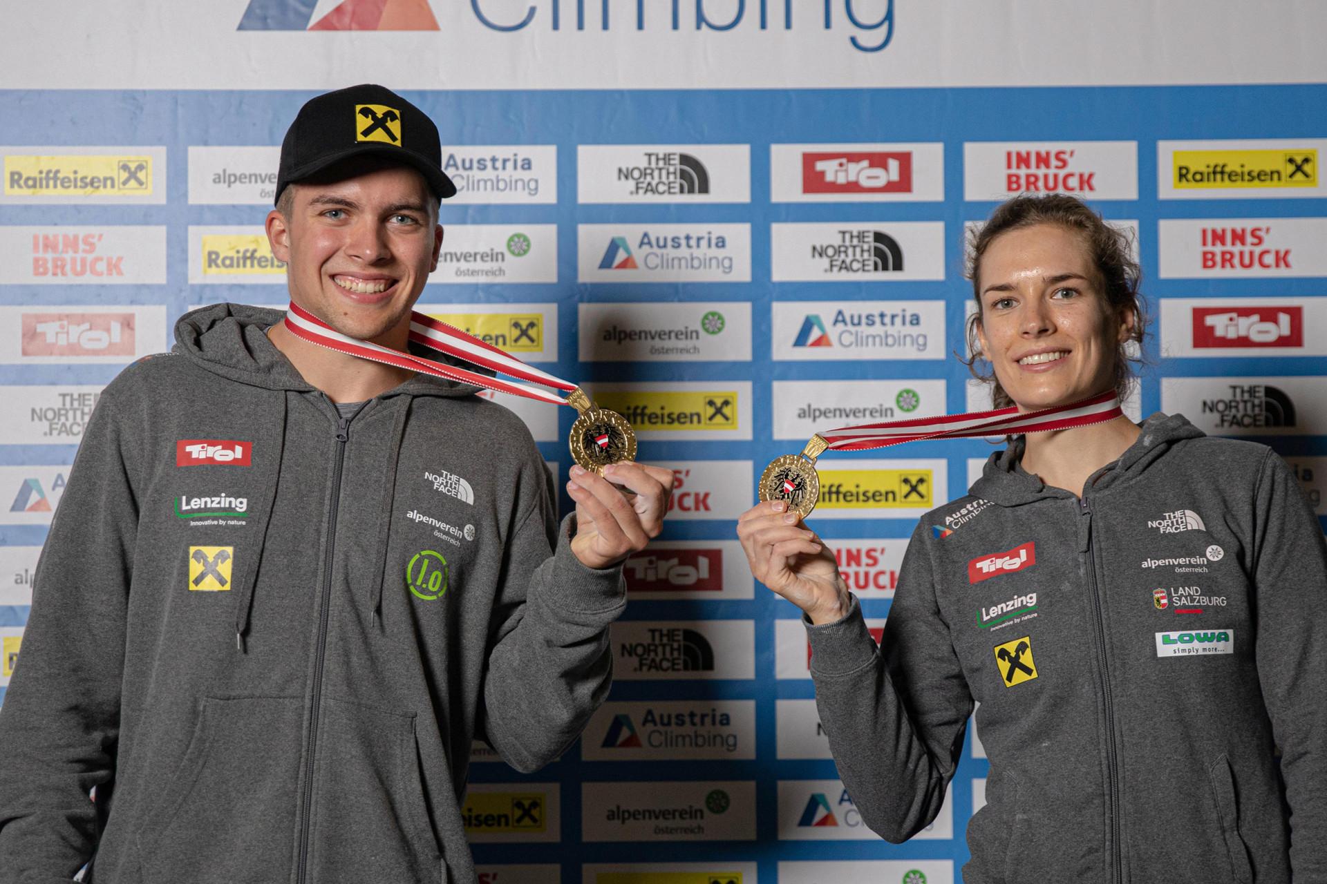 Österreichische Staatsmeisterschaften im Sportklettern - Austria Climbing Summer Series 2020 | 23-26 September 2020 - Innsbruck (AUT) | im Bild: Alexandra Elmer und Tobias Plangger