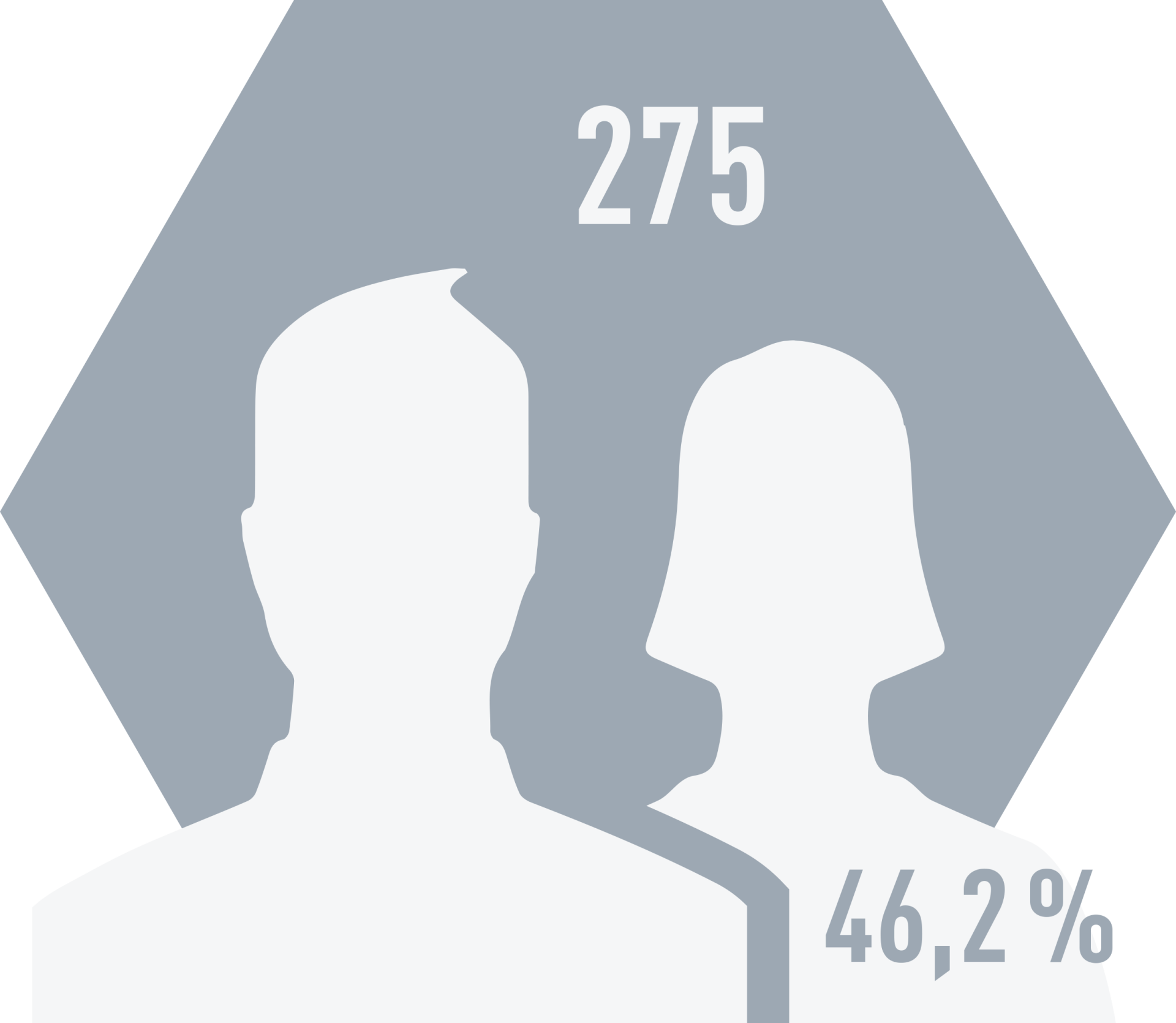 Number of employees (incl. temporary staff) as at 31 December 2019 258 employees, of whom 121 were women (46.9%)