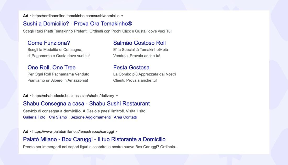 Google ads extension screenshot