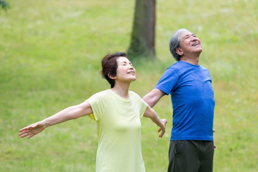couple doing breath exercises