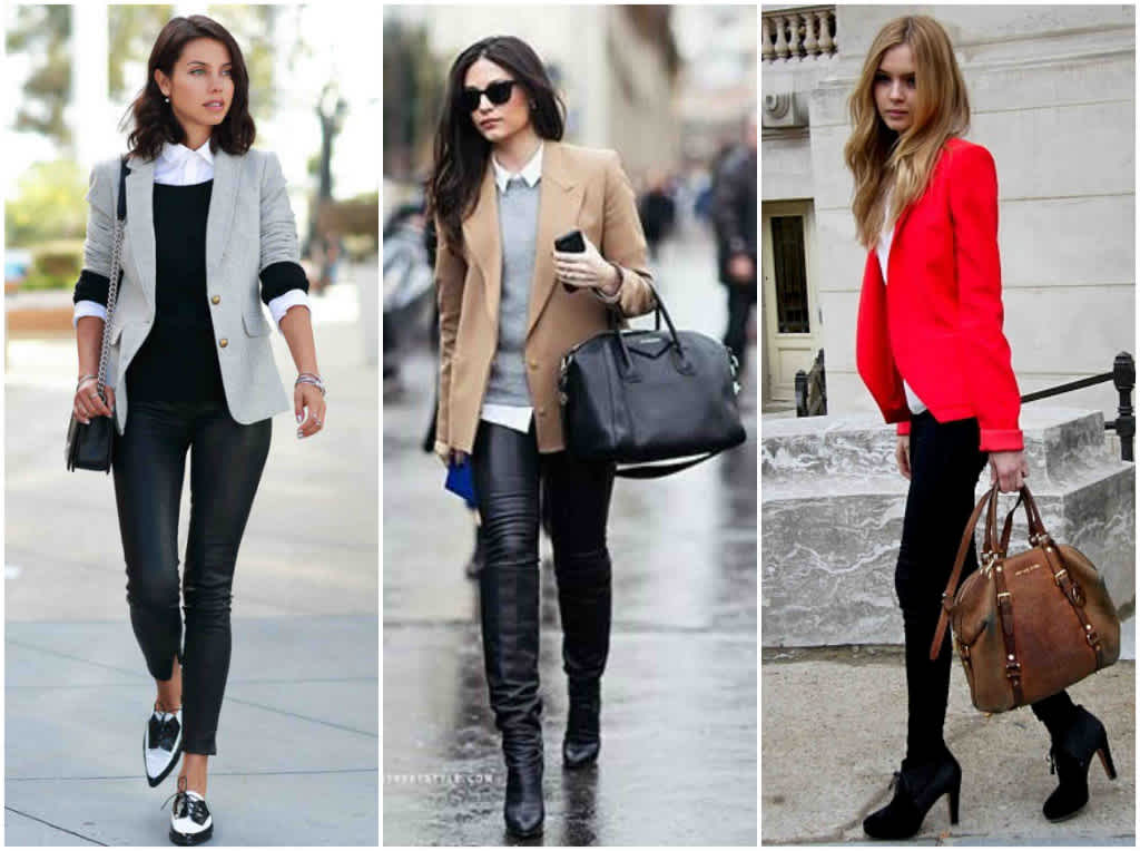 leggings negros con blazer