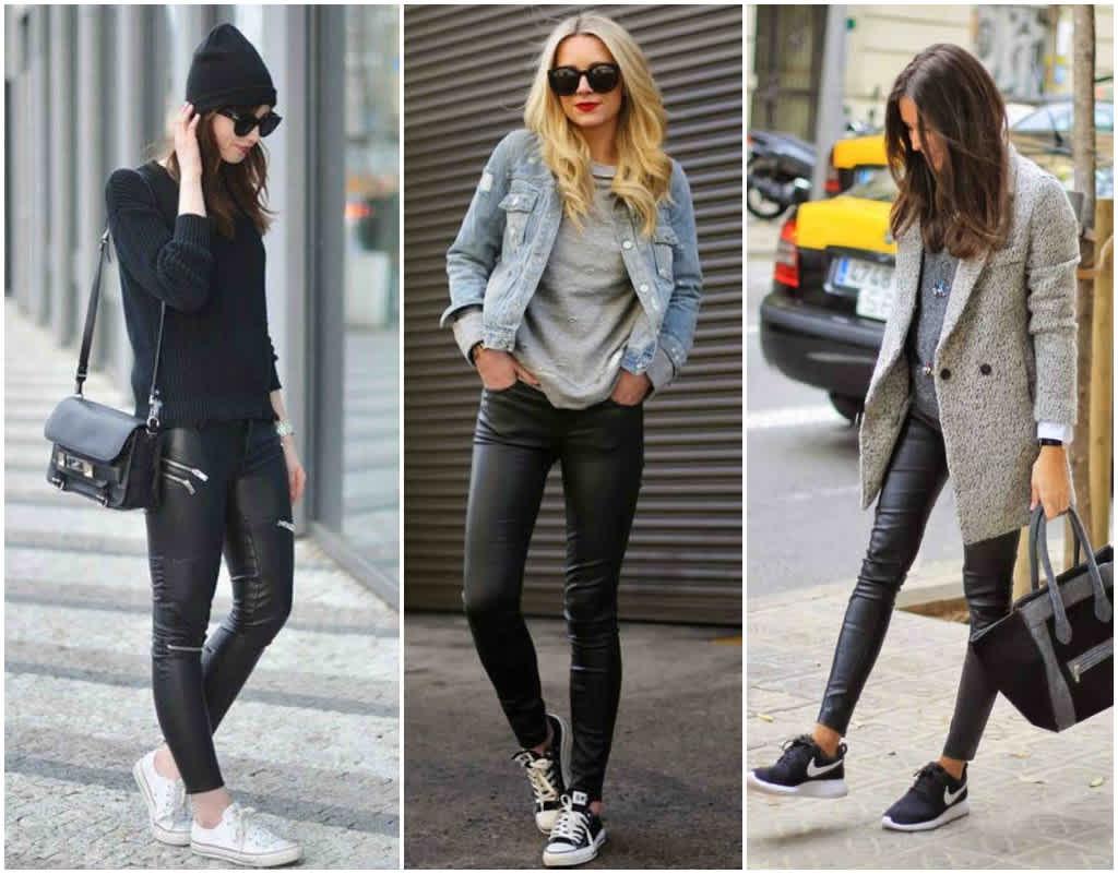 leggings negros con sneakers
