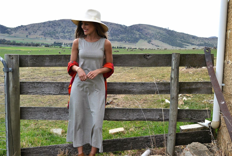 Organic Cotton Pinstripe Boat Neck Maxi Dress