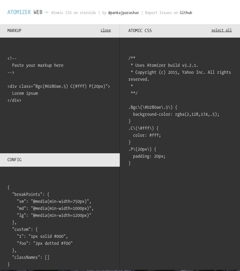 Screenshot for Atomizer Web app