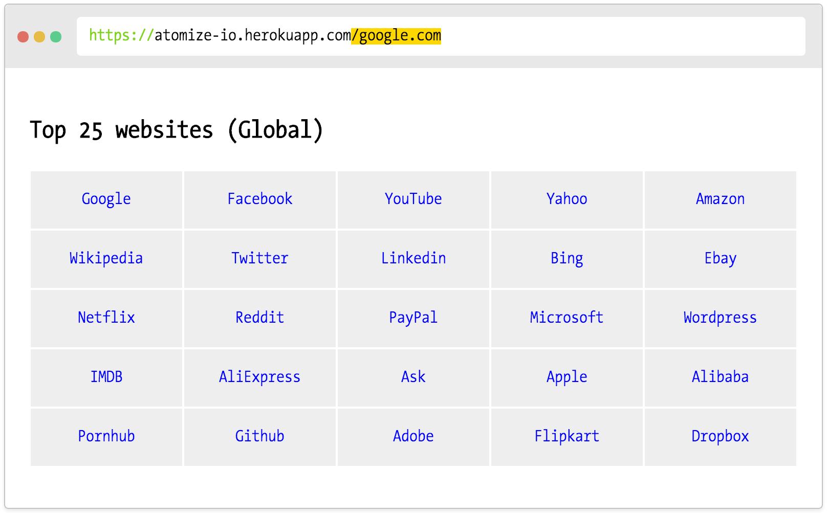 Screenshot for Codelab in action