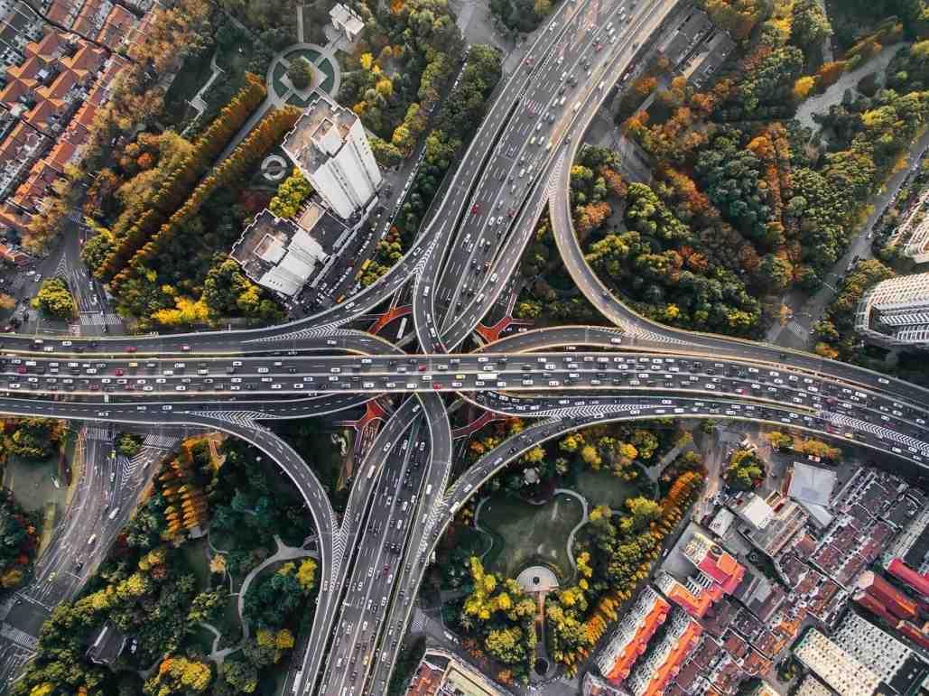 Birdseye view of a large motorway junction
