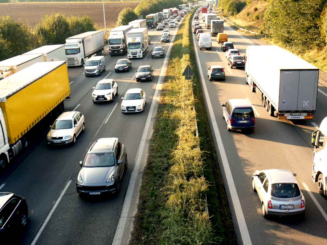 View of traffic on a motorway