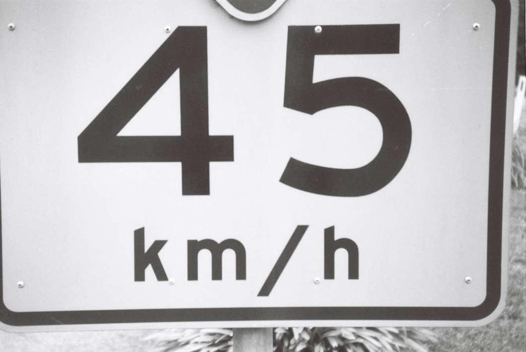 45 km per hour sign