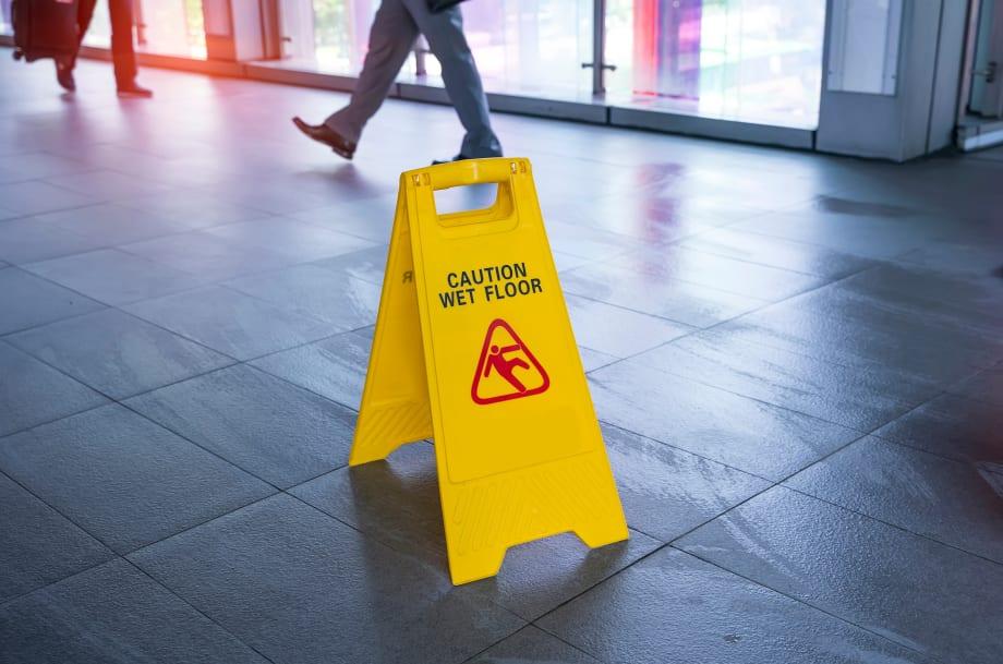 Wet floor sign hazard