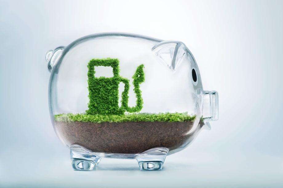 Piggy bank with fuel pump inside