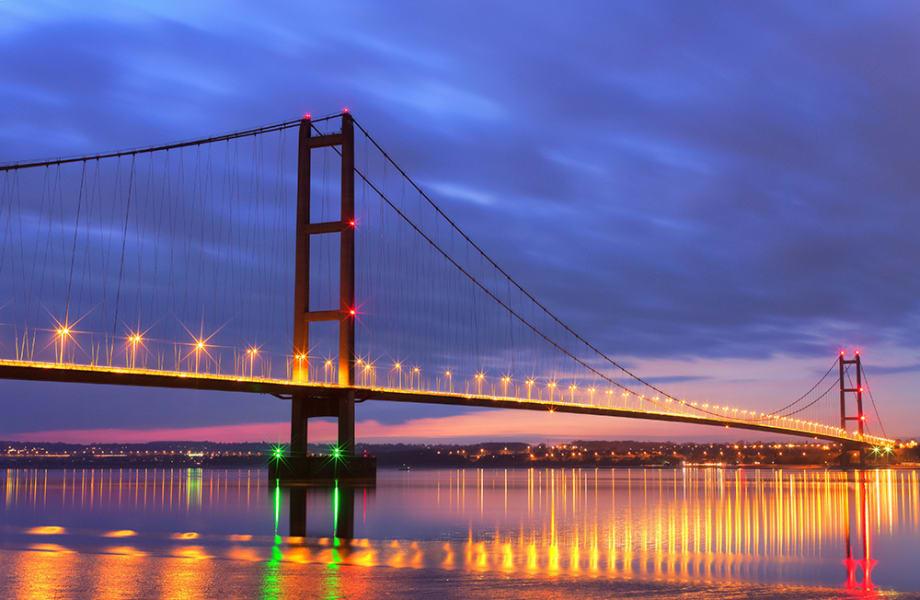 Large bridge at night