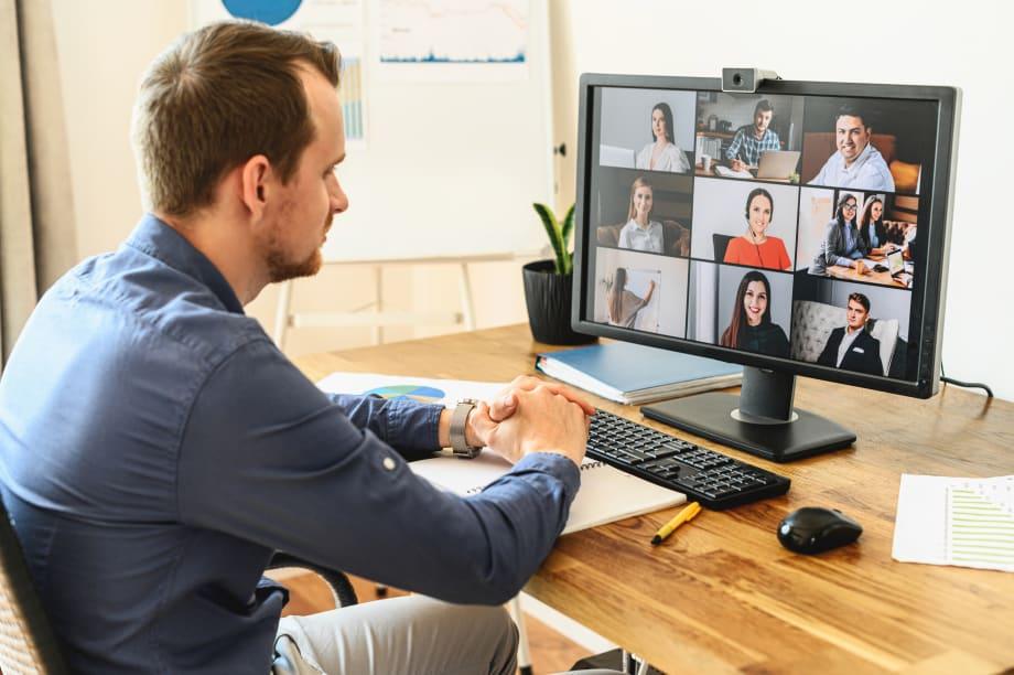 Man in business meeting online