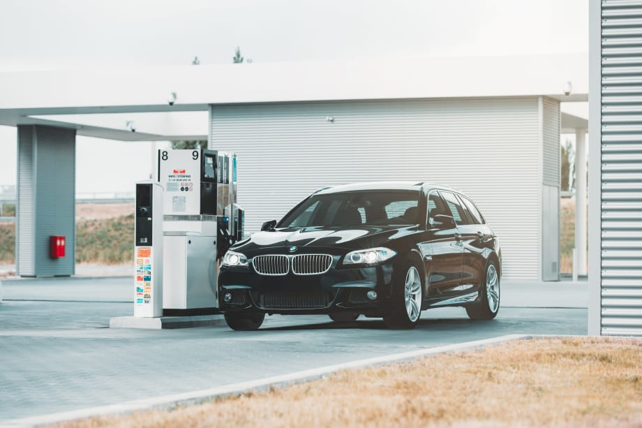 Black car at petrol station