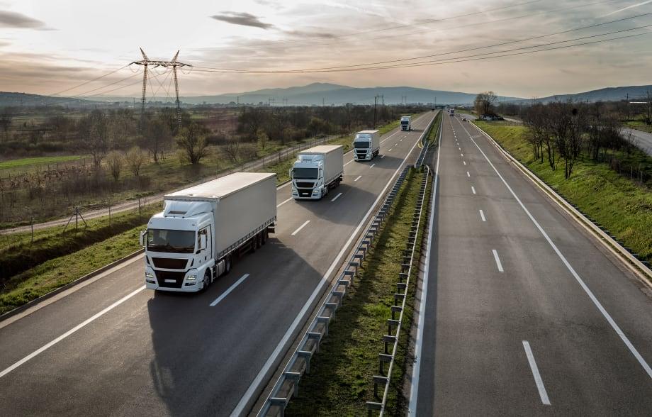 Lorries on motorway