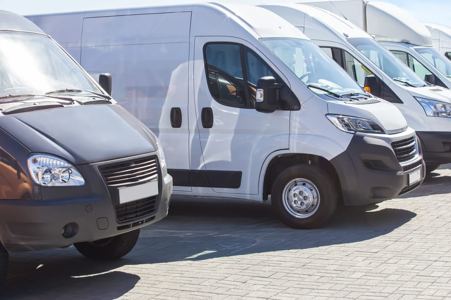 Parked fleet vans