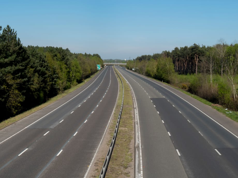 Empty motorway due to lorry driver shortage