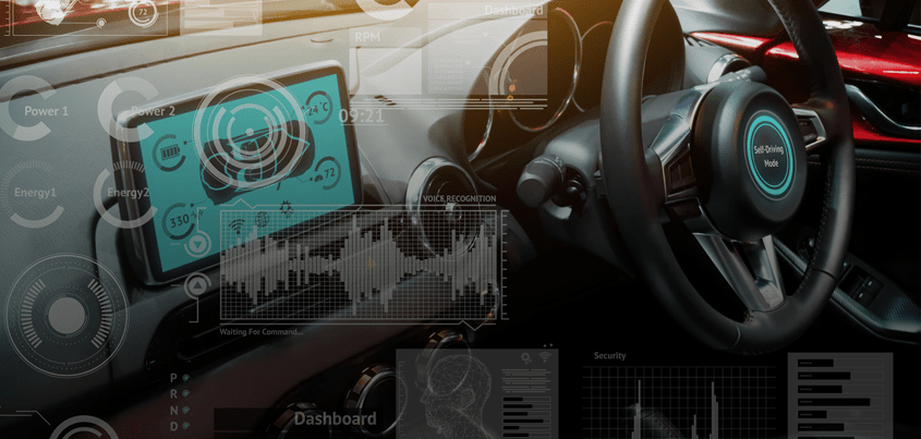 A car dashboard with telematics icons overlayed on it