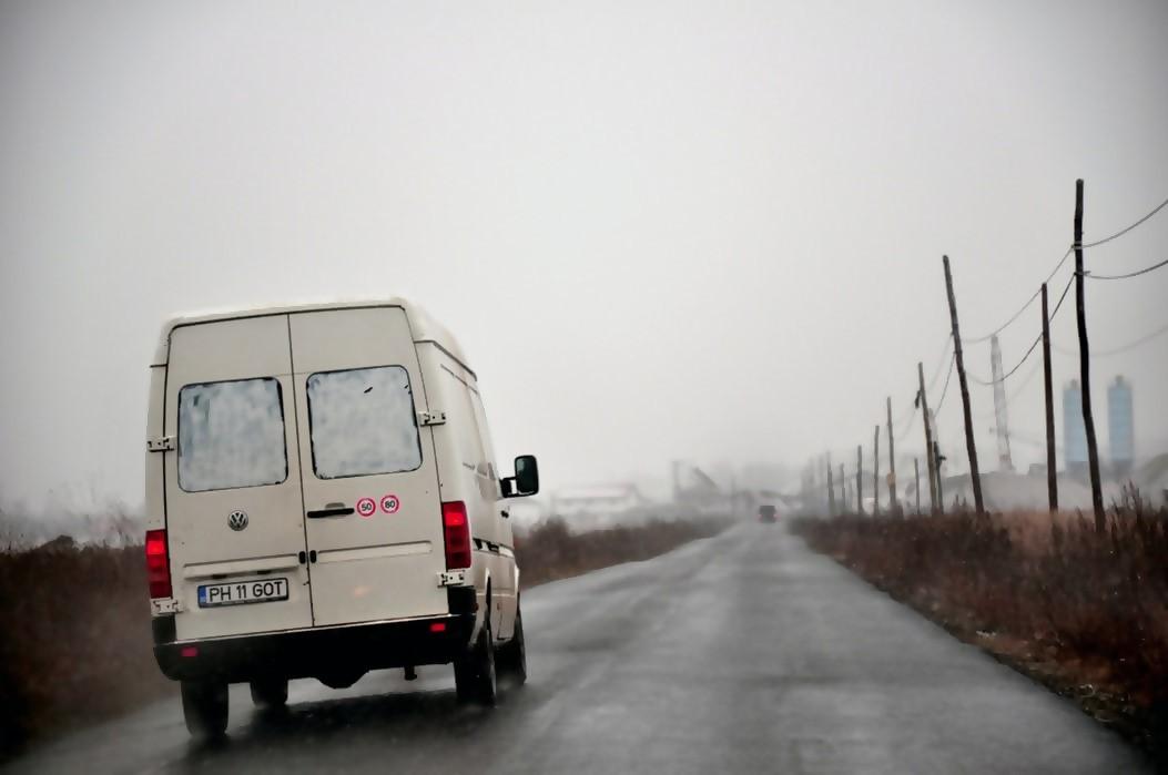 White van driving