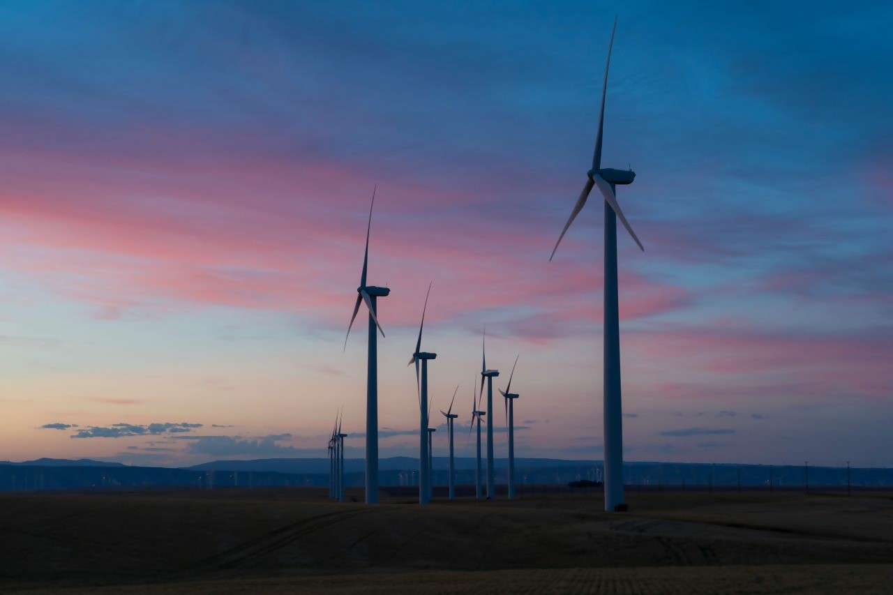 Wind farm during sunset