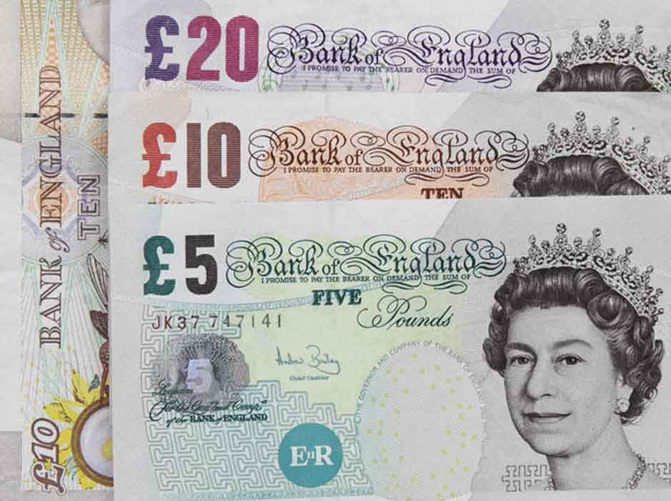 A selection of British money notes