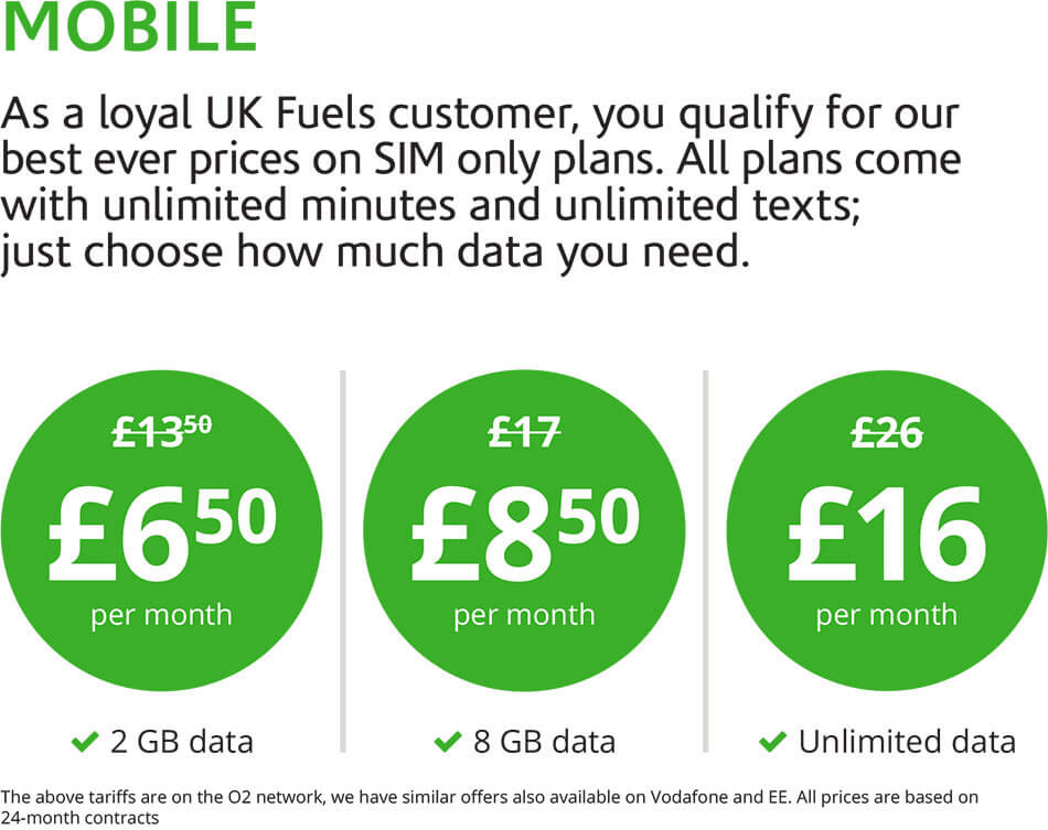 Mobile. As a loyal UK Fuels customer, you qualify for our best ever prices on SIM only plans. All plans come with unlimited minutes and unlimited texts; just choose how much data you need.