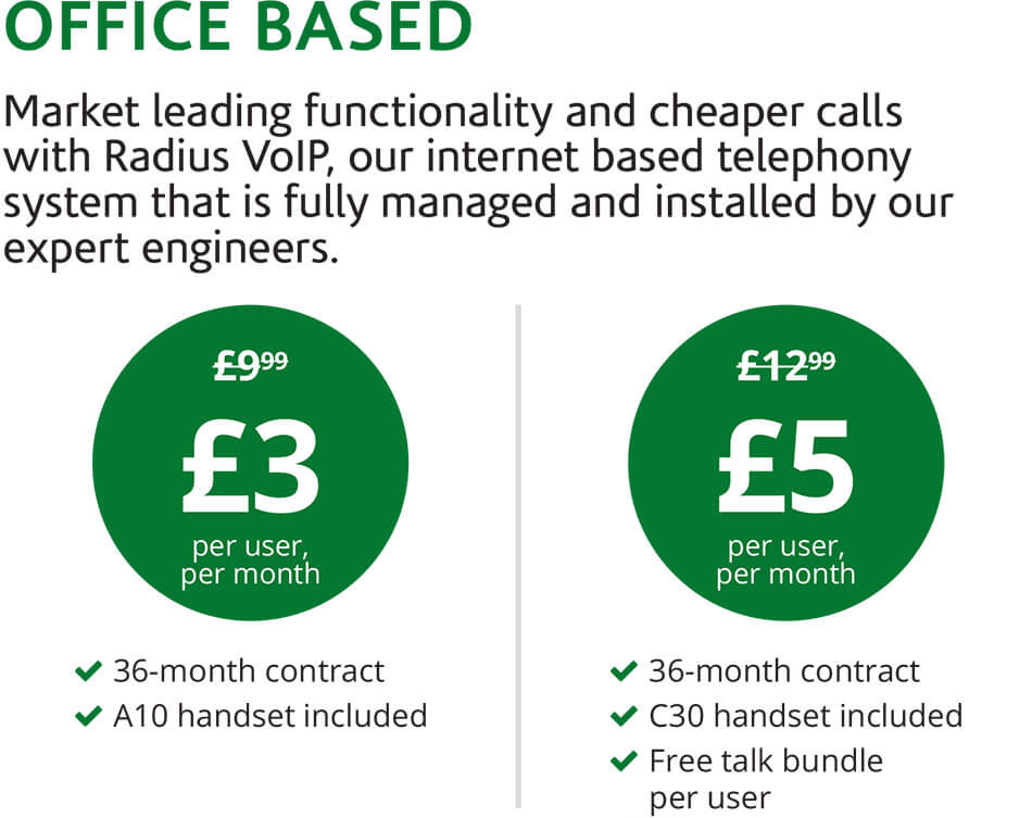 Office Based. Market leading functionality and cheaper calls with Radius VoIP, our internet based telephony system that is fully managed and installed by our expert engineers.