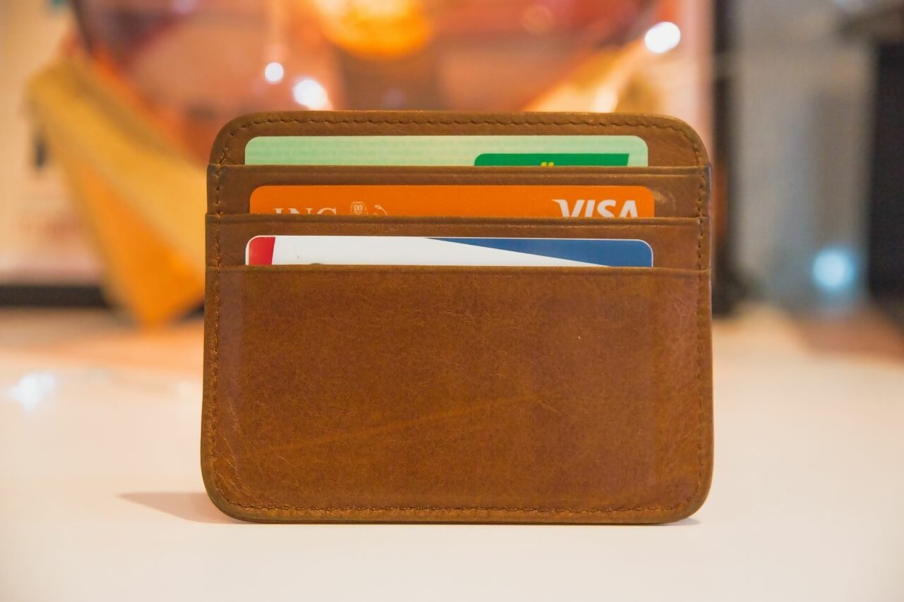 A wallet containing multiple cards