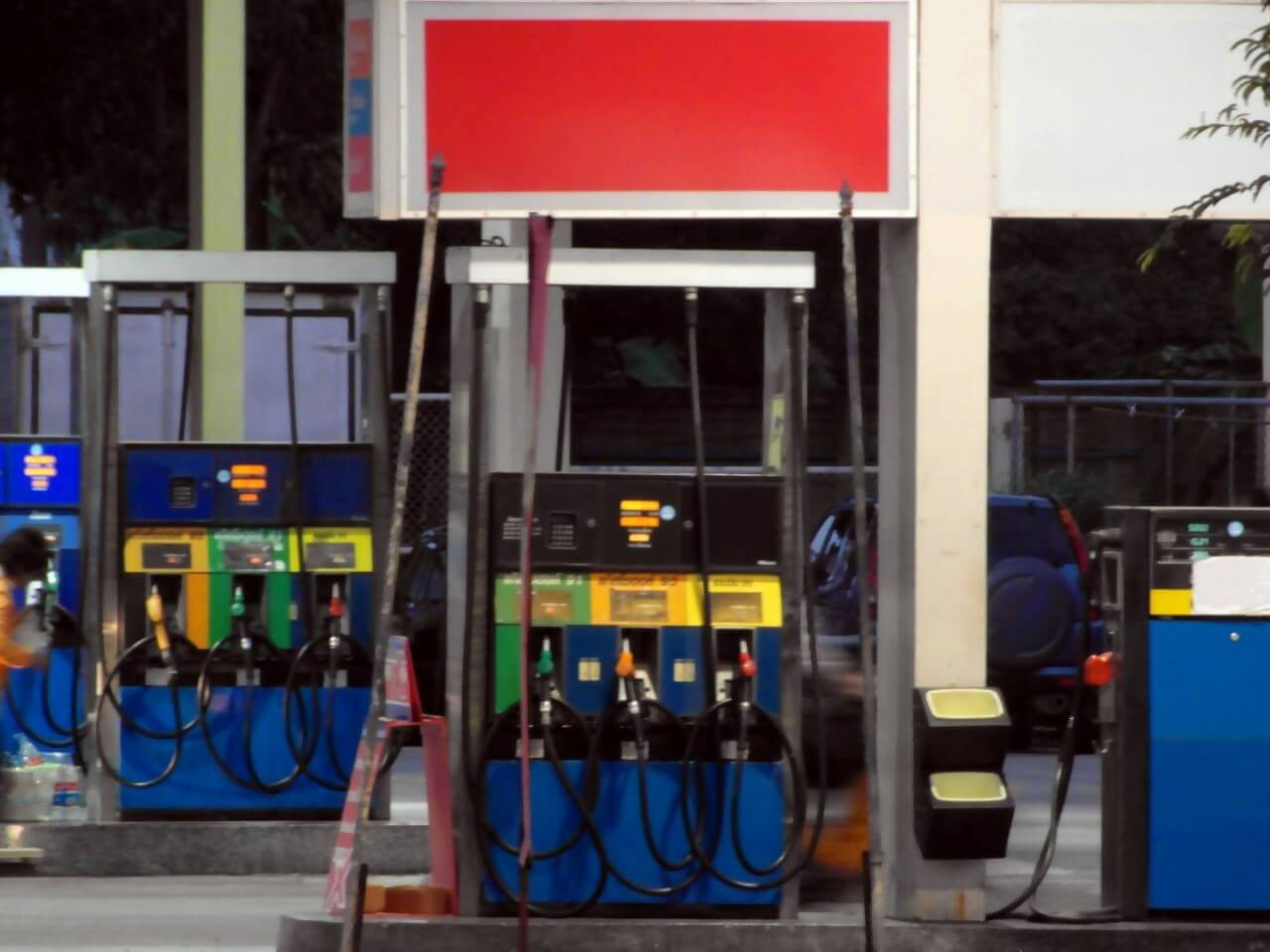 A view of petrol pumps in a fuel station