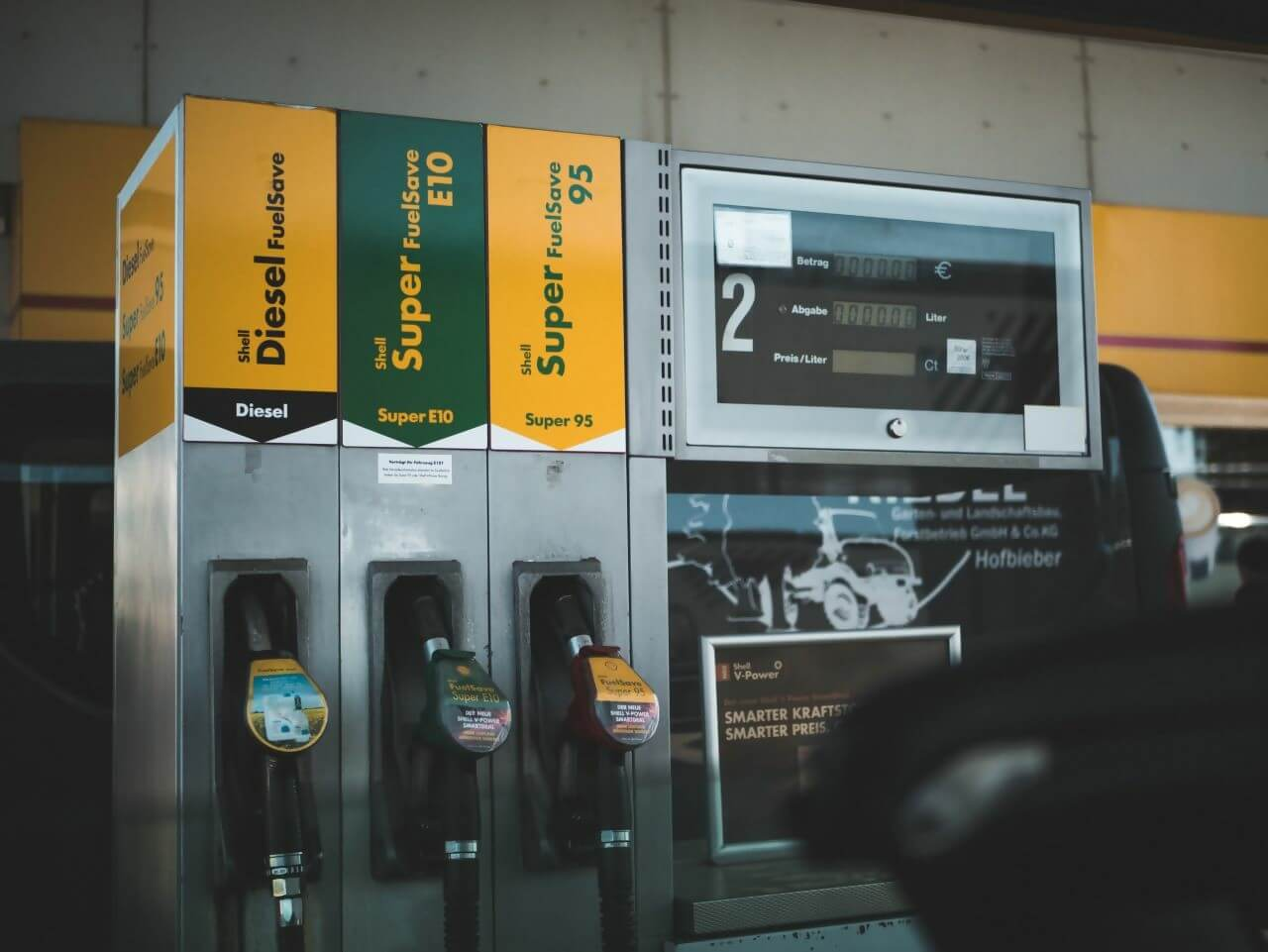 A close up of Shell diesel and petrol pumps