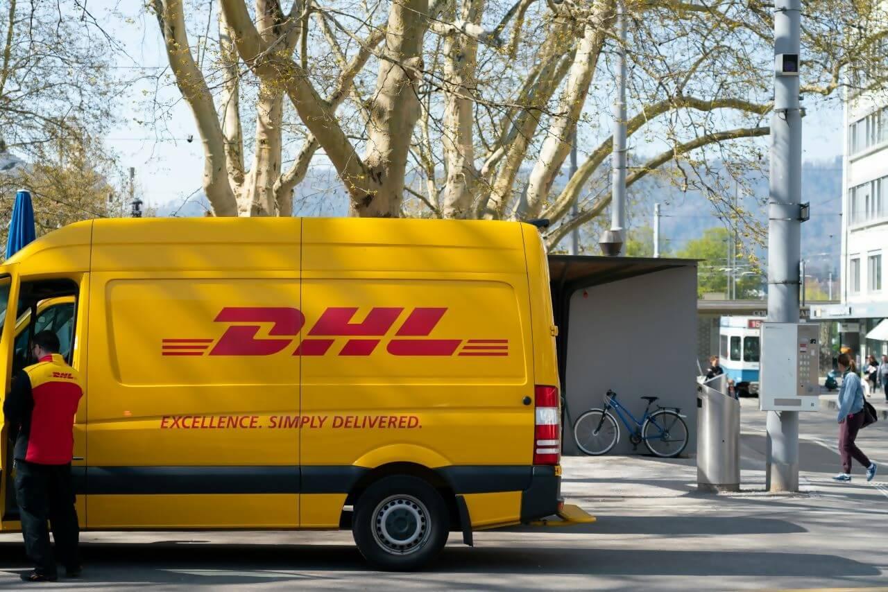 A DHL delivery van