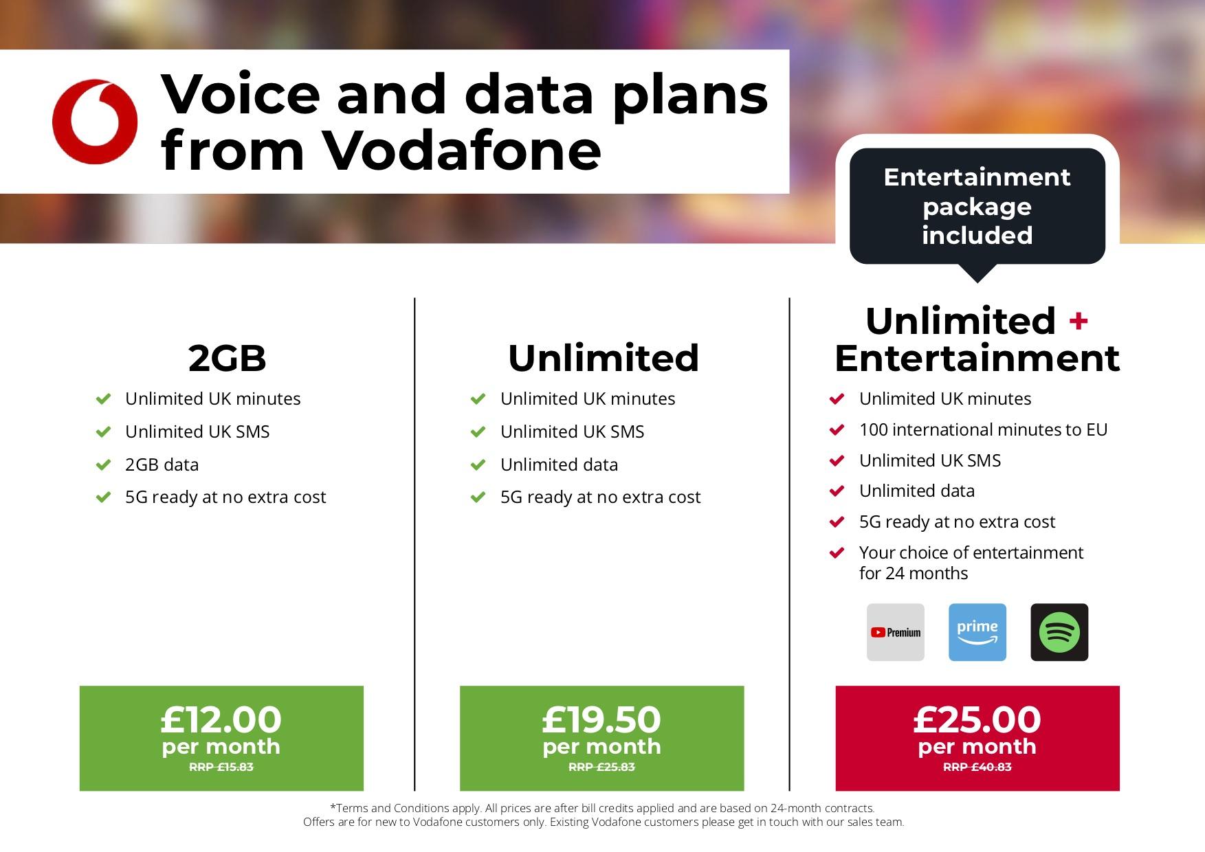 Mobile - £25 per month Unlimited plus entertainment