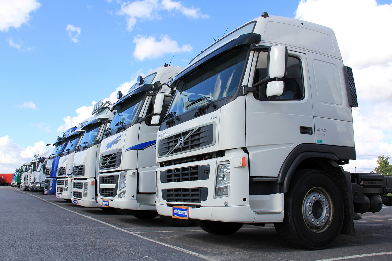 A fleet of HGV vehicles parked at a service station