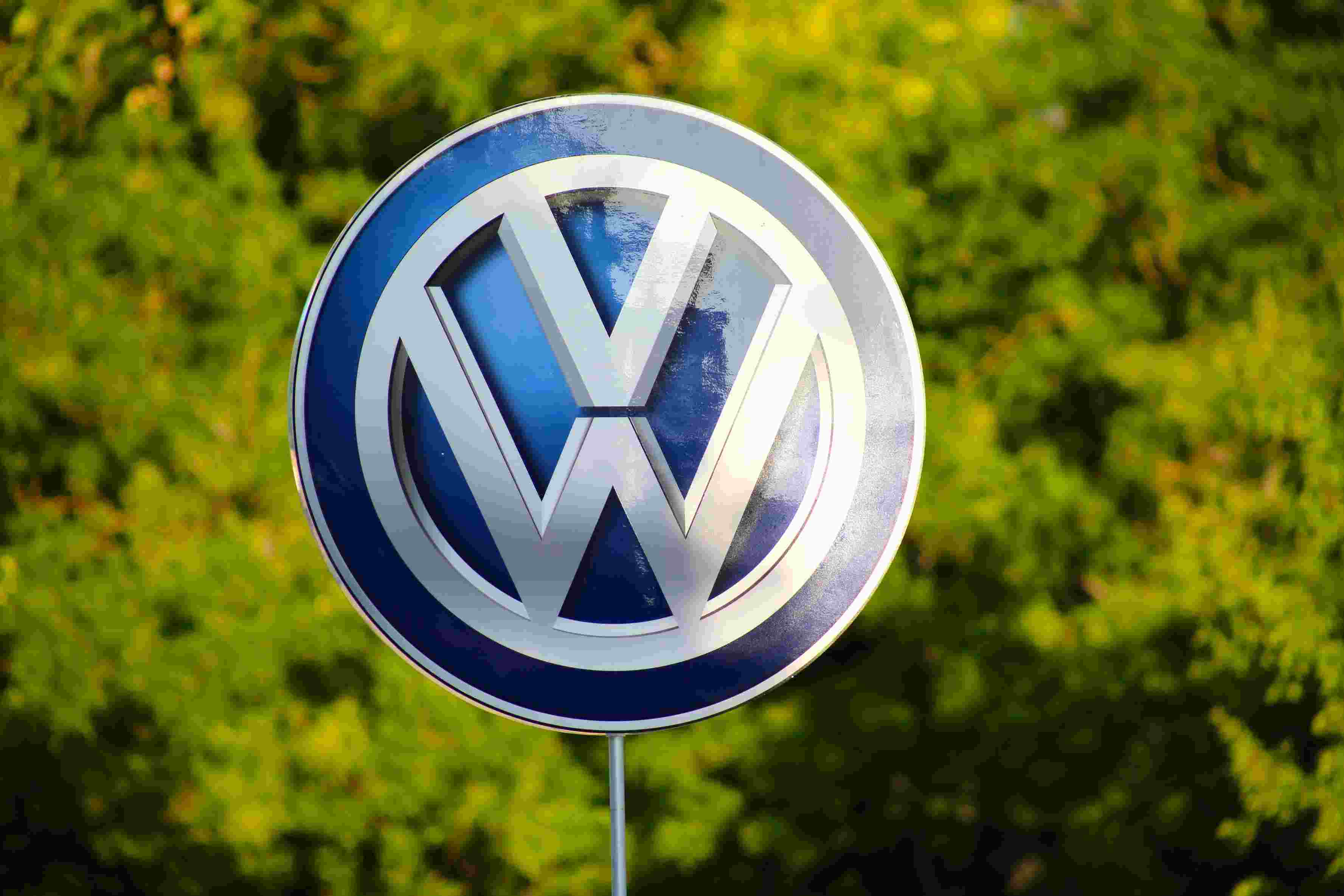 A Volkswagen logo for an electric car